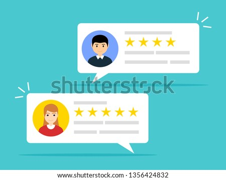 User reviews online. Customer feedback review experience rating concept. User client service message.