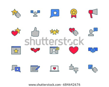 User reviews set of thin line flat icons