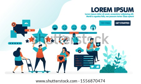 User satisfaction rating. Fill opinions with emoticons and give star feedback, share, like & comments. Flat vector illustration for landing page, web, website, banner, mobile apps, flyer, poster, ui