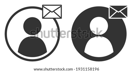 User send mail flat icons, symbols set. Send message sign for web and app. Person profile with envelope symbol for email communication. Vector illustration isolated on white background. Stockfoto ©