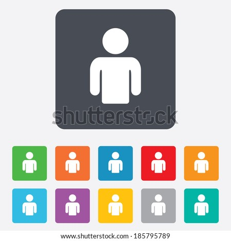 User sign icon. Person symbol. Human avatar. Rounded squares 11 buttons. Vector