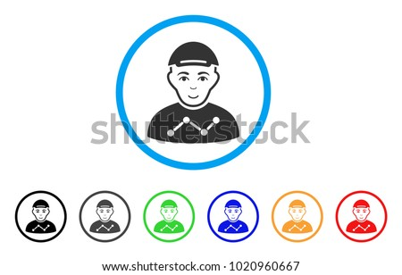 User Stats rounded icon. Style is a flat user stats grey symbol inside light blue circle with black, gray, green, blue, red, orange variants. Gladness user stats vector pictograph.
