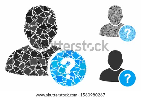 User status mosaic of trembly parts in various sizes and color hues, based on user status icon. Vector trembly parts are united into composition. User status icons collage with dotted pattern.