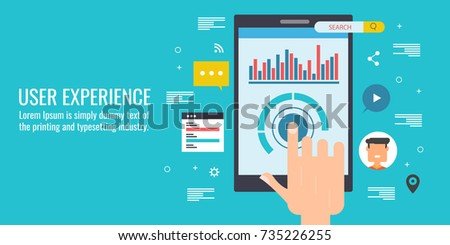 User touching mobile interface, user experience flat vector illustration with icons