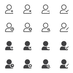 User universal icon set, line and glyph version, outline and filled vector sign. linear and full pictogram. Symbol, logo illustration. Set includes icons as contact add, delete, remove, edit, search