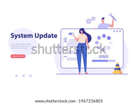 User updating operation system with progress bar. Software upgrade and installation program. Concept of system update, integration, software installation. Vector illustration for UI, mobile app
