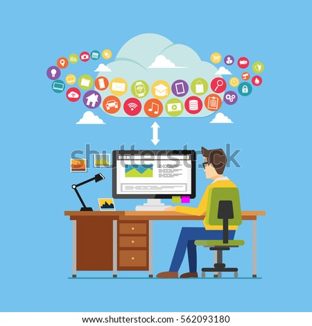 User using online applications or cloud application. Cloud computing. Internet contents. Surfing on internet.