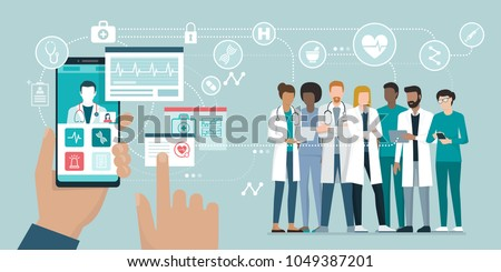 User video calling a doctor using and healthcare app on his smartphone and professional medical team connected: online medical consultation concept