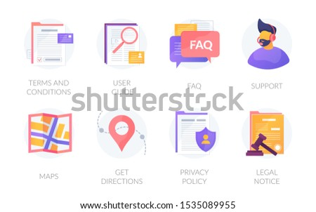 User web experience icons set. Website application menu assets bar. Terms and conditions, privacy policy, legal notice. Guides, FAQ, support, maps, get directions vector isolated design interface pack