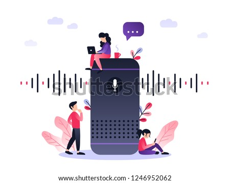 User with voice controlled smart speaker or voice assistant. Voice activated digital assistants, home automation hub, internet of things concept, violet palette. Vector illustration with small people.