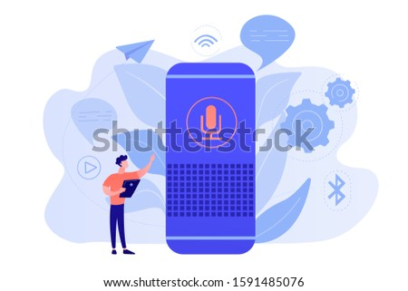 User with voice controlled smart speaker or voice assistant. Voice activated digital assistants, home automation hub, internet of things concept. Vector isolated illustration.