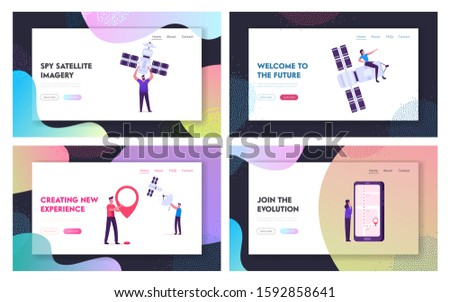 Users and Technics Website Landing Page Set. Cellular Communication and Digital Cable Tv Service, People with Satellite, Mobile Phone, Gps Navigation Web Page Banner. Cartoon Flat Vector Illustration