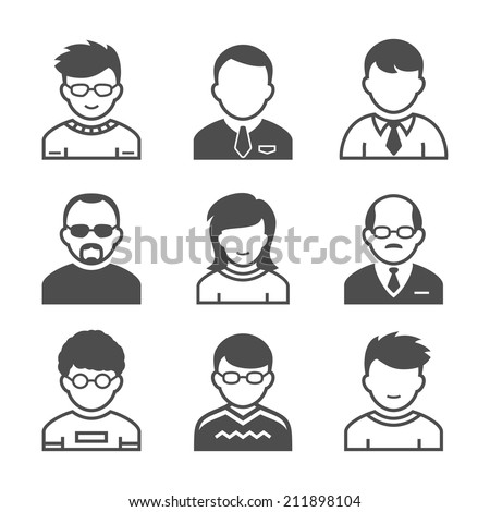 Users avatars. Occupation and people icons. Vector illustration. Simplus series