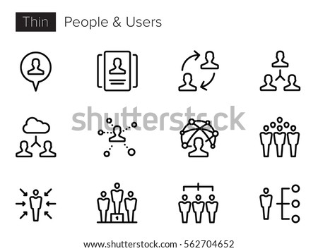 Users, Avatars, People Thin line Vector Icons set