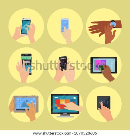Users hands on keyboard computer touch gestures technology internet work swipe typing tool vector illustration.