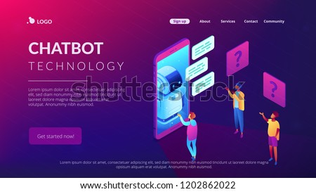 Users in front of huge mobile phone asking chatbot for help. Chatbot technology and online help center, mobile helper, voice assistant concept. Isometric 3D website app landing web page template