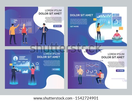 Users in VR headsets set. People watching virtual presentation, touching interactive board. Flat vector illustrations. Virtual reality concept for banner, website design or landing web page