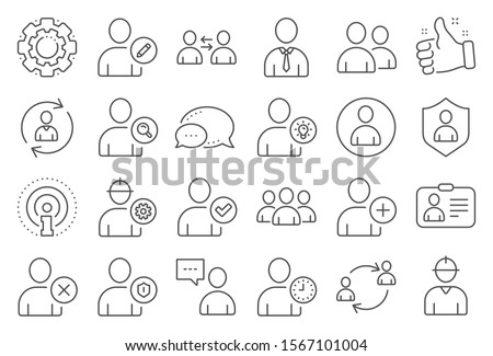 Users line icons. Profile, Group of people and Support signs. ID card, Teamwork people and Businessman user symbols. Person talk, Engineer profile and Human Management. Job support. Vector
