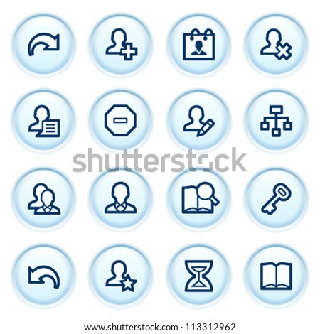 Users web icons on blue buttons.