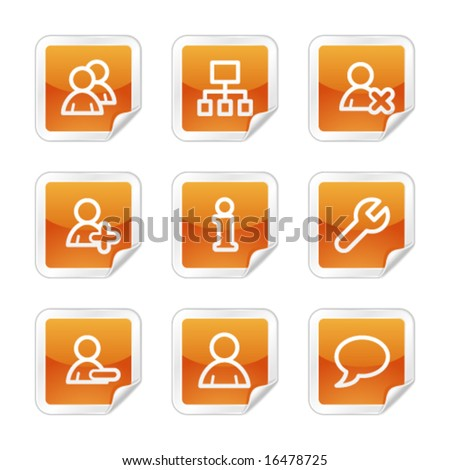 Users web icons, orange glossy sticker series