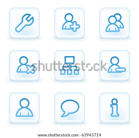 Users web icons, white square buttons - stock vector