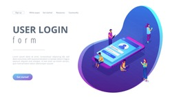 Users with laptops, tablets and smartphone with sign in page log in with name and password. Sign in page, mobile screen, user login form concept. Isometric 3D website app landing web page template