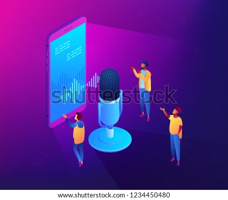 Users with microphone talk to voice assistant in smartphone. Personal voice assistant, voice recognition, soundwave intelligent technologies concept. Ultraviolet neon vector isometric 3D illustration.