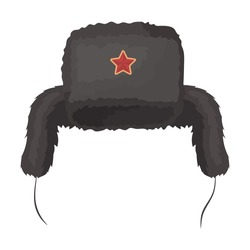 Ushanka icon in cartoon style isolated on white background. Russian country symbol stock vector illustration.