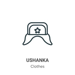 Ushanka outline vector icon. Thin line black ushanka icon, flat vector simple element illustration from editable clothes concept isolated stroke on white background
