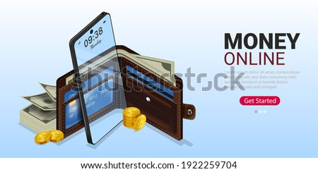 Using Money online through mobile phone with wallet and credit card. Online spending Concept through cryptocurrency technology. Online shopping spending with digital money