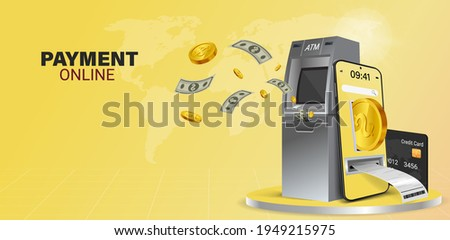 Using online money instead of cash. Fast and convenient mobile online transactions. Pay bills via mobile phone without using an ATM. Convenient and fast phone payment application. Vector illustration.