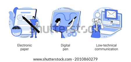 Using technology abstract concept vector illustration set. Electronic paper, digital pen, low-technical communication, electronic library, read e-book, brush stroke, notebook abstract metaphor.