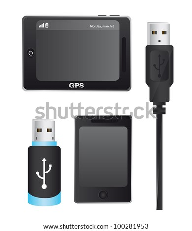 usp plugs with gps and cellphone isolated over white background. vector