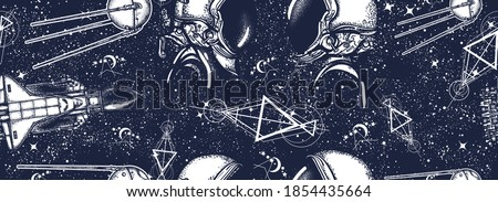 USSR. Great Soviet astronautics. Cosmonautics art. Love in space. Sputnik, space ship, astronaut in universe. Seamless pattern. Black and white surreal graphic