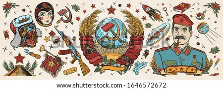 ussr old school tattoo vector
