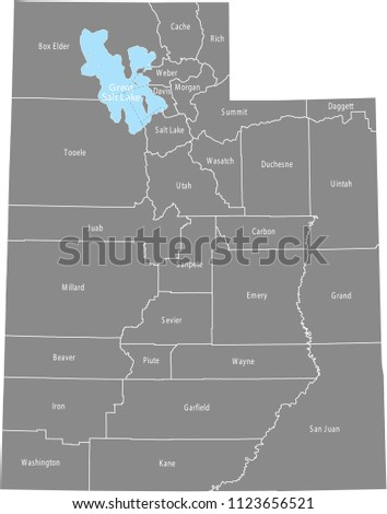 Utah county map vector outline with counties names labeled in gray background Stock photo ©