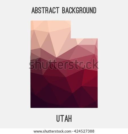 utah map in geometric polygonal