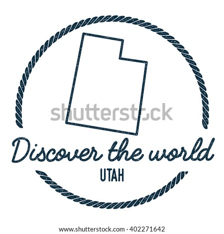 utah map outline vintage