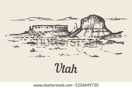 utah skyline hand drawn utah
