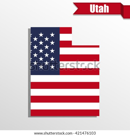 utah  state map with us flag