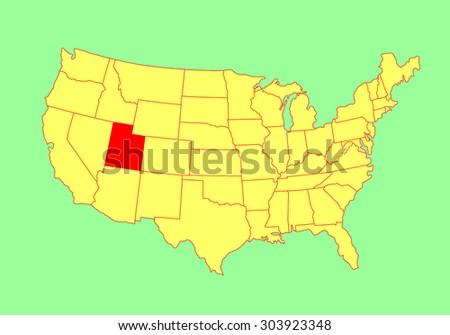 utah state  usa  vector map