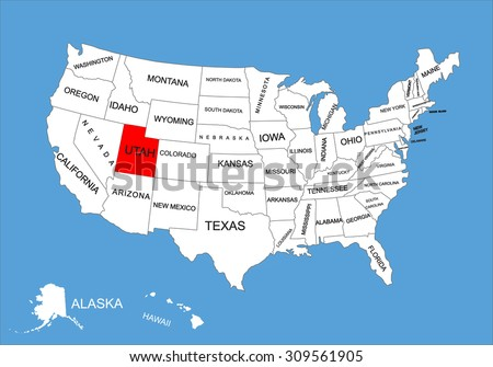 utah state  usa  vector map