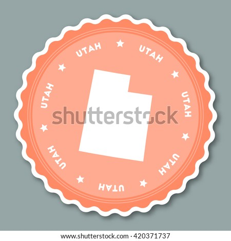 utah sticker flat design round