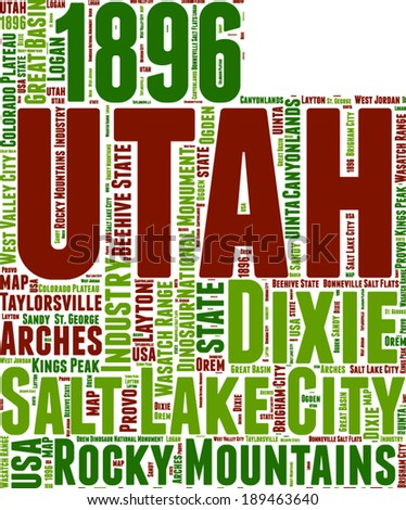 utah usa state map vector tag