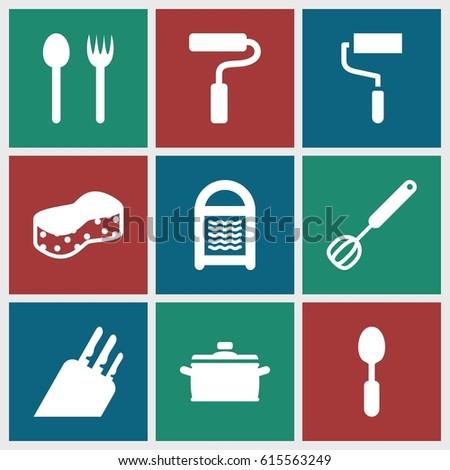 Utensil icons set. set of 9 utensil filled icons such as sponge, roller, spoon, paint roller, corolla, pan, knife