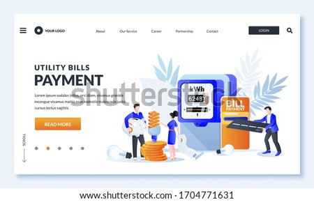 Utility bills online payment concept. Vector illustration of people characters, electricity invoice and electricity meter. Man and woman worried and stressed over bills and save energy.