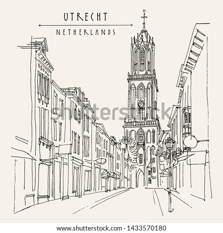 Utrecht, Netherlands, Europe. The Dom Tower (Cathedral Tower). Hand drawn vintage touristic postcard