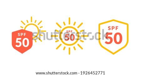 UV radiation sun block icon. Solar ultraviolet uv radiation logo 50spf