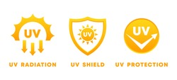 UV rays icon set. Ultraviolet protection, radiation and shield sign. Sun danger and sunblock cream solution. Yellow sun symbols. Skin care product design element. Vector illustration, flat, clip art.