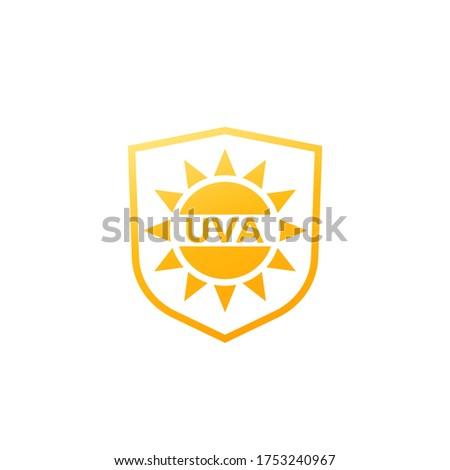 UVA protection icon, sun and shield vector Foto stock ©